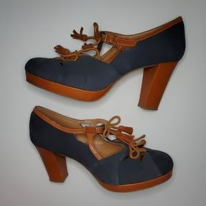 ANTHROPOLOGIE MISS ALBRIGHT land & sea suede heels